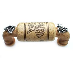"3"" CTC Wine Cork Bin Pull - Oak - with Silver Grapes Accents"