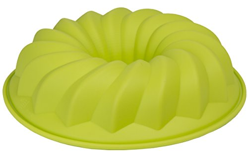 Le Juvo Fluted Bundt Cake Silicone Mold - Round 10X2 Inch Pan - Green
