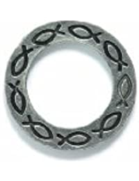Shipwreck Beads Pewter Ring With Fish Design, Metallic, Silver, 22mm, 3-Piece