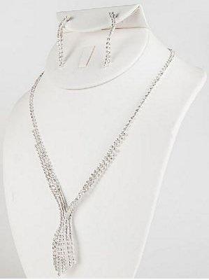 Dazzling Rhinestone Waterfall Necklace & Earring Set - Wedding Jewelry