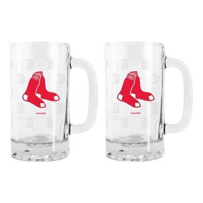 Mlb Red Sox 16Oz. Glass Se Tankard Mugs - Set Of 2 | Boston Red Sox Beer Mugs