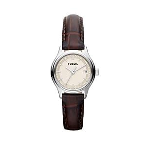 Fossil Damen-Armbanduhr XS Analog Quarz Leder ES3168