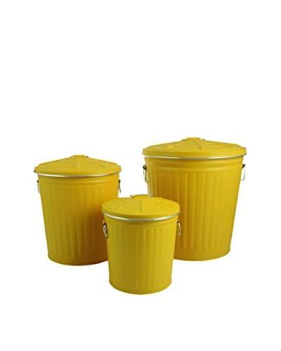 Villa d' Este Tivoli Huis vuilnisbak 3 pct . Set Tin geel