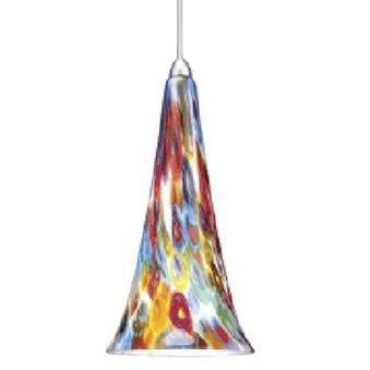 Wac Lighting Mp-614-Mf/Bn Passion 1-Light Mini-Pendant, Brushed Nickel Finish With Millefiore Art Glass Shade
