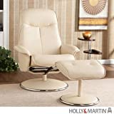 Holly & Martin Naomi Leather Recliner Chair and Ottoman in French Vanilla