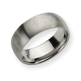 Titanium 8mm Brushed Band Ring - Size 7 - JewelryWeb