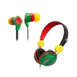 Groov-E Rasta Canz And Rasta Budz Headphone Bundle
