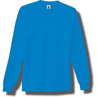 Long Sleeve Bright Neon T-Shirt in Neon Blue - Small
