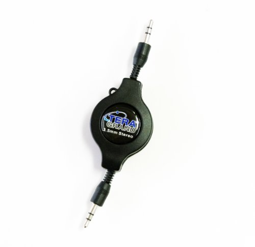 Tera Grand - Premium Retractable 3.5Mm Male To Male Stereo Cable, Extends To 4 Ft., In Retail Packaging
