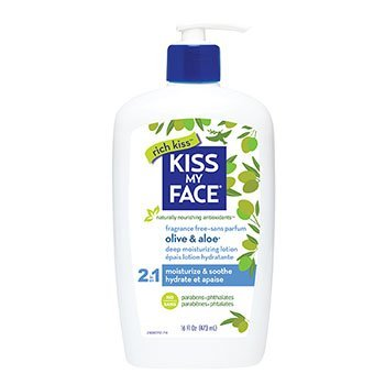Kiss My Face Sensitive Skin Natural Moisturizer with Olive Oil and Aloe Vera, Fragrance Free Body Lotion, 16 Ounce