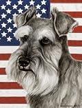 Schnauzer Uncropped by Tamara Burnett Patriotic II House Dog Breed Flag 28'' x 40''