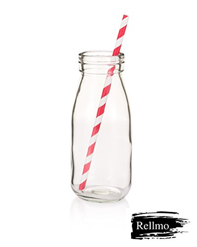 Rellmo 10 Fluid Ounces Milk Bottles Vintage Style with Straws Set (Mini Plastic Pitcher compare prices)