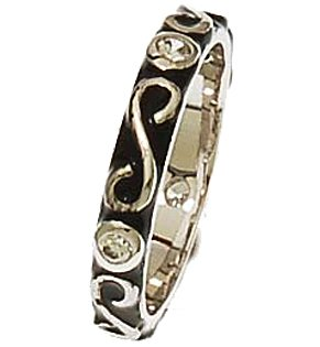 Brass Rhodium Overlay Black Enamel Ring With Swirl Shape Design and CZ Stones!