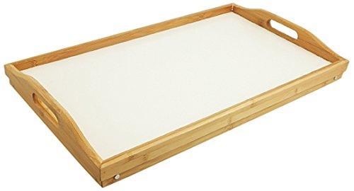 2177516 Bett-Tablett aus Bambus, mit Ablage, Weiß