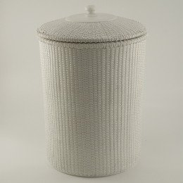 Hamper laundry basket wicker hamper with lid beach bathroom decor nantucket style white amazon - White wicker clothes hamper ...