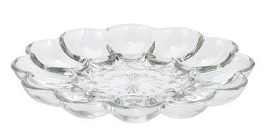 Serve Healthy Avocado Deviled Eggs on Anchor Hocking Egg Plate Presence Clear Glass