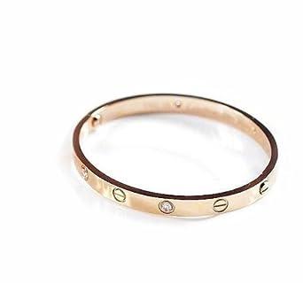 JMT 1 Pcs Rose Gold Color Rhinestone Love Stylish Bracelet Bangle for Woman