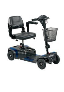 Drive Medical Phoenix 4 Wheel Compact Portable Travel Power Scooter, Red / Blue