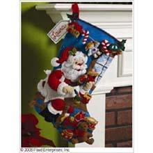 Bucilla 18-Inch Christmas Stocking Felt Applique Kit, The Workshop