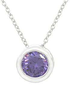 .925 Sterling Silver Cz Round-Cut Bezel Stud Pendant Necklace, 18