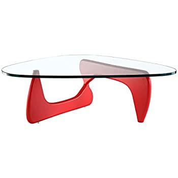 EMODERN FURNITURE eMod - Noguchi Coffee Table Triangle Glass Top Red Base