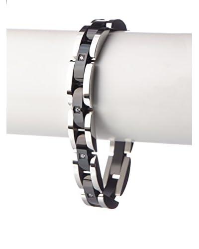 Blackjack Black/Steel Stainless Steel Semi Circle Link Cz Bracelet