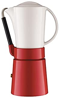 Aerolatte Cafe Porcellana Stove Top Espresso Maker, 4-Cup, Red