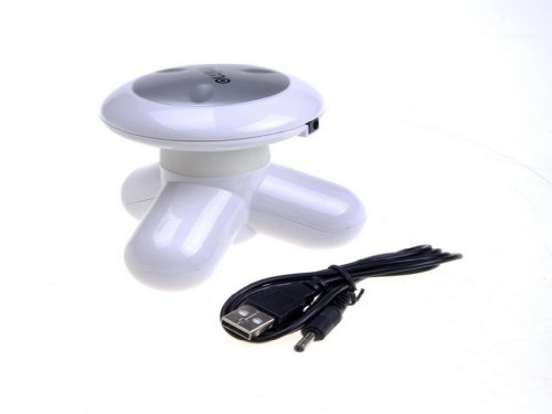 New USB Electric Handled Vibrating Mini Full Body Massager-White