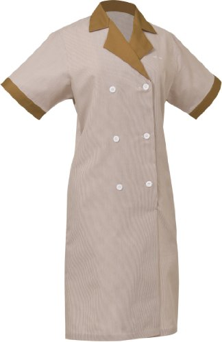 Uniform Works HKDF-TAN-S Junior Cord Women's Housekeeping Dress, Tan, Small