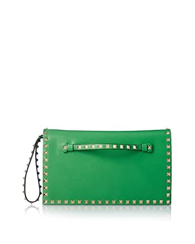 Valentino Women's Rockstud Solid Wristlet Clutch, Green
