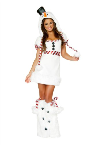 J Valentine Sexy women's Christmas snowman costume mini dress