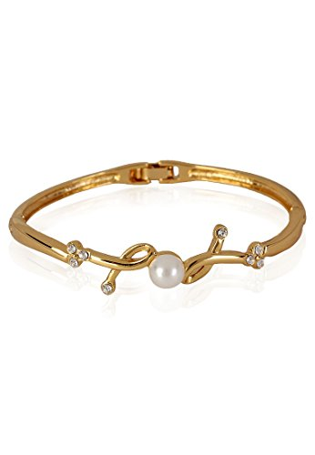 Estelle Estelle Gold Plated Bracelet With Crystals And Pearl For Women (Transperant)