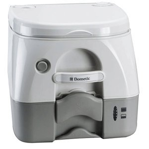 New Dometic - 974 Portable Toilet 2.6 Gallon - Grey w/Brackets