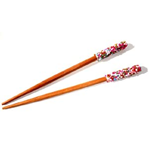 Designer Hair Chopsticks One Pair of Beaded Hair Sticks Wood for Long Hair
