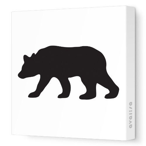 "Avalisa Stretched Canvas Nursery Wall Art, Bear Silhouette, Black, 18"" x 18"""