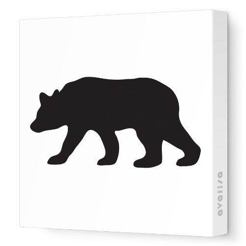 "Avalisa Stretched Canvas Nursery Wall Art, Bear Silhouette, Black, 18"" x 18"""