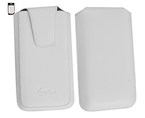 Emartbuy® ARK Benefit A3 Smartphone Sleek Serie Bianco PU Cuoio di Lusso Custodia Case Cover Sleeve ( Misura 4XL ) con Chiusura Magnetica a Linguetta