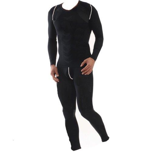 Cox Swain Thermo Men Funktionswäsche Set Hose und Langarm Shirt in bewährter Cox Swain Qualität, Farbe: Black, Größe: L