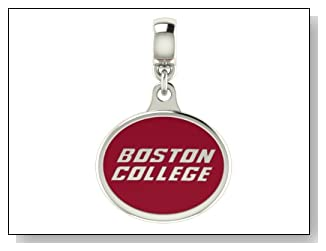 Boston College Eagles Collegiate Drop Charm Fits Most Pandora Style Bracelets Including Chamilia Zable Troll and More. High Quality Drop in Stock for Fast Shipping.