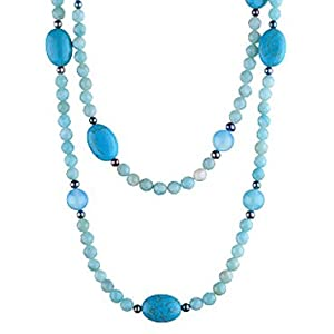 Magnesite, Chalcedony, Amazonite and Pearl Necklace