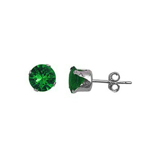 .925 Sterling Silver Emerald Color Round Cz Stud Earrings (7)mm