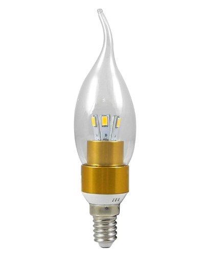 CHINS® E14 3W LED Kerze wie Lampe Birne LED Leuchtmittel mit Aluminium-Karosserie (270Lumen, 360º Abstrahlwinkel, AC 85V - 265V - Ø35×136mm) Energiespar Licht - Golden (Kaltweiß)