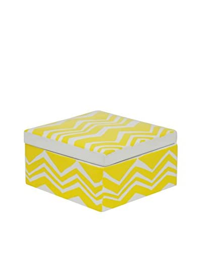 Three Hands Chevron Ceramic Box, Yellow/White