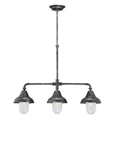 Nuvo Lighting Sutton 3-Light Pendant, Industrial Iron/Frosted