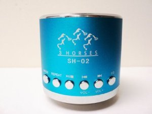 Mini Portable Speaker 3 horses MN 02 with FM (Light Blue)