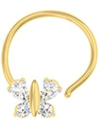 TBZ - The Original Butterfly 18k Yellow Gold And Diamond Nosepin