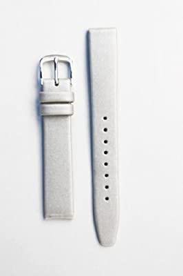 15mm Locman Silver Satin Watchband with Leather Lining by Toscana