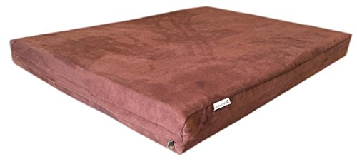 55''X37''X4'' Luxury Comfort Replacement Dog Bed Zippered Duvet Gusset Resistant Anti Slip Cover In Chocolate Brown Microsuede Fabric 100% Washable front-538584