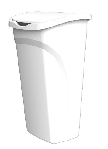 United Solutions WB0115 White Forty Quart Ten Gallon Indoor Wastebasket with Dual Swing Lid - 40QT 10 Gallon Trash/Refuse Can and Dual Swing Lid in White (Trash Can With Lid White compare prices)