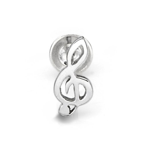 925 Sterling Silver Polished Finish G Clef Music Note Single Stud Earring